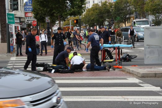 Bike vs Car Accident at Octavia and Market Streets in SF